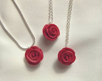Red Rose 925 Sterling Silver Pendant Chain Necklace - Hand Sculpted Polymer Clay Flower - Silver Plated Option
