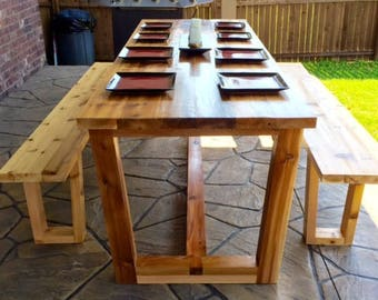 Farmhouse Dining Table + Dining Table Benches + Farmhouse Dining + Dining Table + Table + Rustic Dining Table + Farmhouse Table + Furniture