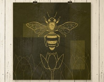 Honey Bee Print, Bee art, honey bee art, bee picture, bee print, insect art, wall art, original art, wall decor, animal art, gifts,