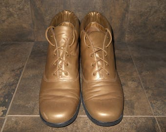 Vintage Gold Tone Leather Upper Auditions Shoes Cadet 11m Made in Brazil