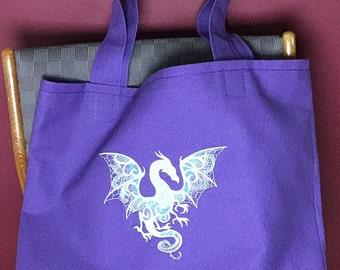 Dragon Tote Bag, Embroidered Tote, Purple Lined Canvas Tote, Library Book Bag, Overnight Tote, Shopping Tote, Beach Bag, Carryall