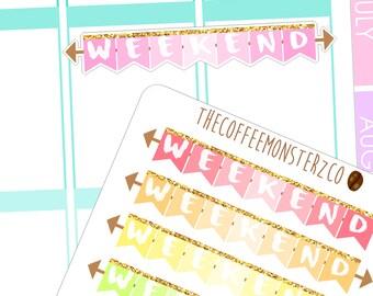 rainbow weekend banner - functional planner stickers C034