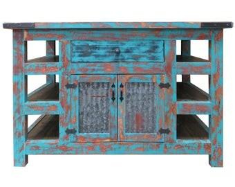 Kitchen Island,Kitchen Table,Rustic Island,Barn Tin,Kitchen Island with storage,Wood, Handmade,Hand crafted,Dining