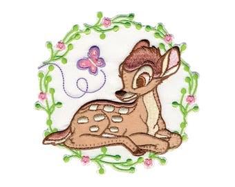 Bambi Iron On Applique, Genuine Disney Iron On Patch, Flowers Patch, Bambi Patch, Kids Patch, Disney Patches (111293)