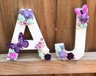 Wooden floral letters
