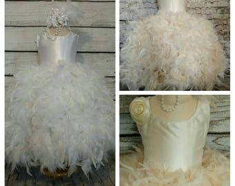 Posh satin top flower girl dress cream white ivory flower girl dress flower girl dress flower girl tutu dress special occasion tutu dress