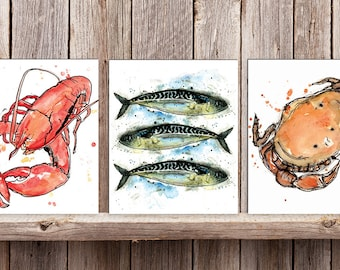 Set of 3 Wood Mounted Coastal Prints