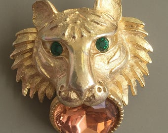 Unique Vintage Tiger Head With Faux Gem Brooch .