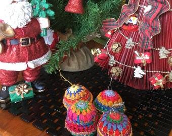 Set of 4 crocheted Christmas ornaments