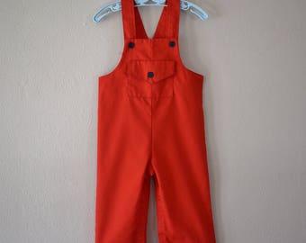 Vintage 1970s Red Overalls Toddler Size 2 - Vintage Clothing - Vintage Toddler Clothes - Vintage Boy Clothes - Vintage Overalls 70s Clothing