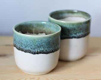 White and Blue Green Ceramic Cup – Handmade Ceramic Pencil Cup – Ceramic Pen Holder – Pottery Pencil Cup – Ceramic Tumbler