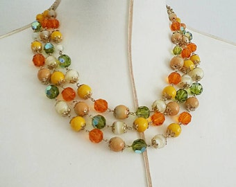 Vintage Vendome Colorful Beaded Necklace