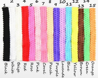 """2CM Frilly Lace Headbands Wholesale-Stretchy Elastic Headband with Frilly Lace Edge-Skinny Elastic Lace Headbands-15"""" around-3/4"""" wide-F039"""