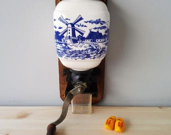 Delft Blue Porcelain Wall Coffee Grinder - Authentic Dutch Motif - Holland Kitchenware