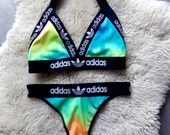 Reworked Halter Tie Dye Fashion Thong Bikini