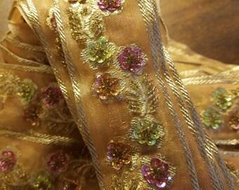 Indian silk jeweled ribbon