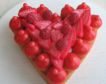 Barbie dollhouse miniature food, Strawberry St Honoré cake, Valentine's Celebration Cake, doll food 1:6 scale