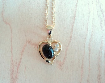Black onyx with zircon pendant. Heart shaped pendant vintage. Necklace with black onyx. Genuine onyx stone.