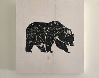 9x10 Bear (white stain/black print)