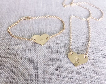 """heart initial necklace- kids 14"""" length"""
