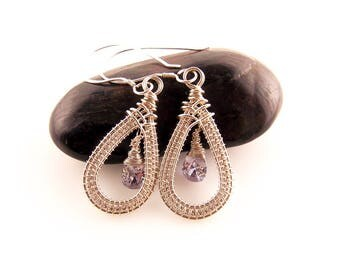purple cubic zirconia earrings-wire weave jewelry-wire wrapped earrings-handmade earrings-silver wire jewelry-Melissa Wood Jewelry