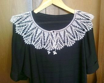White lace handmade crochet collar, neck accessory