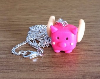 flying pig necklace // polymer clay pig necklace