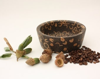 Acorn Cupule And Recycled Coffee Bowl, Recycled Crafts, Handmade woodturning, Innovative material, Natural art
