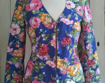 Cacharel blue and floral vintage tailored jacket blazer