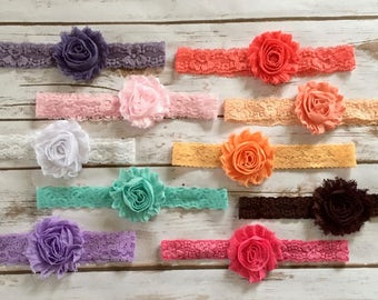 PICK 2 Lace Headbands/Baby Girl Headbands/Newborn Headbands/Baby Headbands/Shabby Chic Headbands/Baby Headband Set/Baby Headband/Gift Set