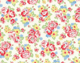 White Floral Bouquet Print from the 1930's Child Smile Collection by Lecien Fabrics