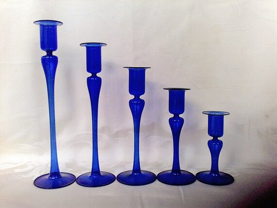 5 Candle Holders Cobalt Blue Hand Blown Candle Sticks