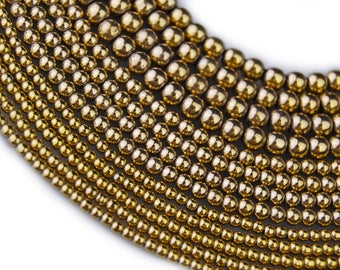 Gold Plated Hematite Round Loose Beads. Size: 4m / 3m / 2m 15.5 '' Long Per Strand. R-S-HEM-0110