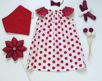 0- Flutter Sleeve Dress- Red Dots