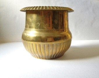 Large Vintage Heavy Brass Planter-Patina-Fluted Detail