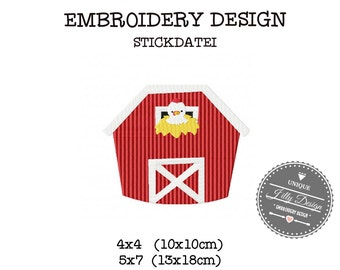 Embroidery Design  File  Barn House Chicken 4x4 5x7