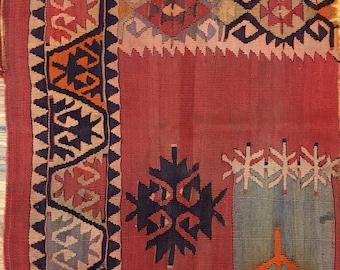Antique Gorgeous 19th C. Turkish Kilim (9942)