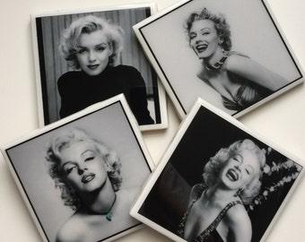 Marilyn Monroe Set of 4 Ceramic Tile Resin Coasters
