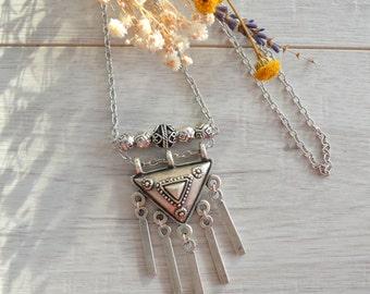 Long silver tassel FLOWER engraved Necklace, BohoChic Bohemian Silver TASSEL Jewelry, Ethnic Tribal Gypsy Free people style necklace jewelry