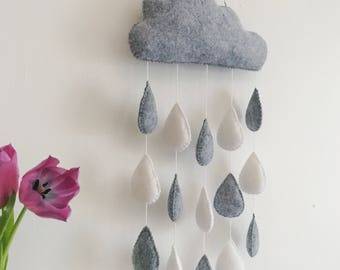 Grey wool felt rain cloud wall hanging mobile with white and grey raindrops