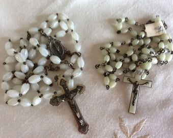Vintage rosary chaplet mother of pearl glass beads Italy ONLY ONE LEFT