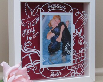 Personalised Frame for 6x4 photo - Papercut inspired - Baptism, Dedication, Christening Gift