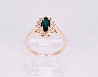 14K Yellow Gold Marquise Emerald and Diamond Ring, size 7