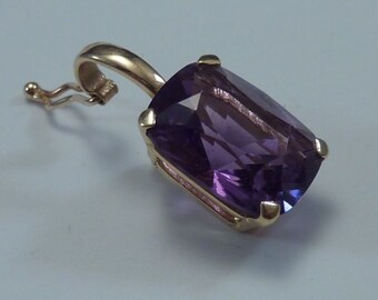 14K Yellow Gold Pearl Enhancer Pendant With Purple Stone, 2.2 grams
