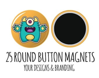 Custom Round Magnets- 25 w/ Your Logo,fridge magnets, custom magnets, promo magnets, shower favors, button magnets, wholesale magnets, bulk