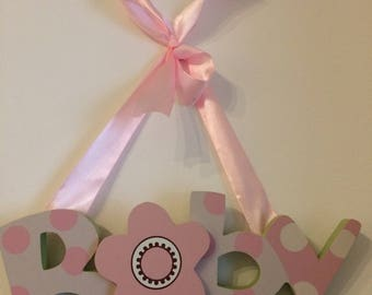 Baby wall hanging plaque choice of 2 colours