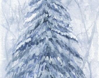 "Christmas Tree Watercolor Print - 5"" x 7"""