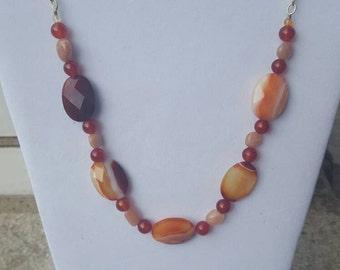 Carnelian and Sunstone necklace