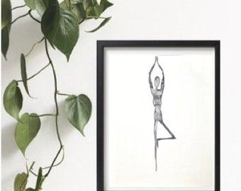 Yoga watercolor painting, 8x10, Original watercolour painting, Yoga studio decor, Black and white print, Zen art, Asana art, Yoga posture