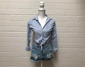 Blue And White Striped Button Up Blouse - Small